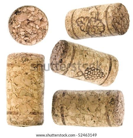 collection set of wine corks isolated over white background - stock photo