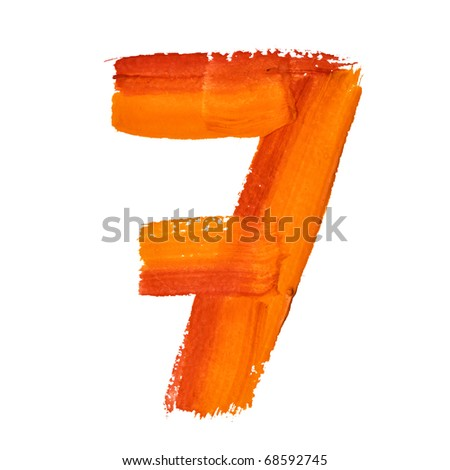 7 - Color digits isolated over the white background - stock photo