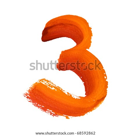 3 - Color digits isolated over the white background - stock photo