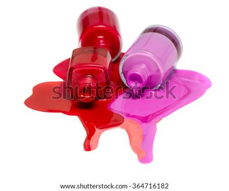 3 color nail Polish isolated on white background - stock photo