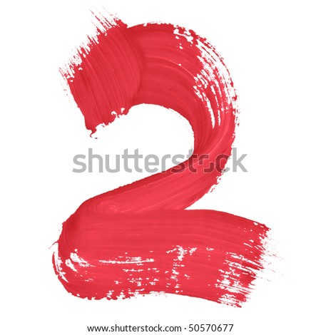 2 - Color numbers isolated over the white background - stock photo