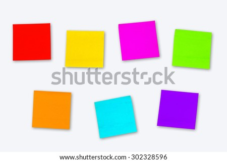 7 Color of Blank Post It on White Background for Texture
