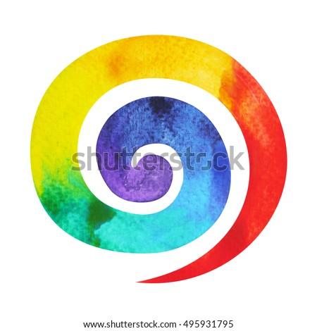 7 Color Chakra Symbol Spiral Concept Stock Illustration 495931795