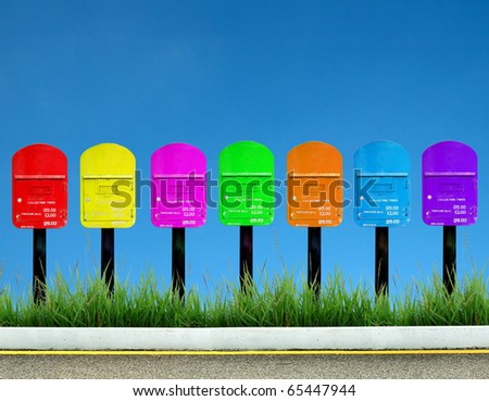 7 color postbox for a week - stock photo