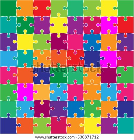 64 Color Puzzles Pieces Arranged in a Square - JigSaw. Illustration for Web Design. Background. Color Pieces Flat Puzzle Infographic Presentation. Banner. Image.