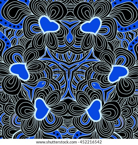 colored floral abstract pattern in black and blue colors. Symmetrical background.  - stock photo