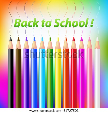 12 Colored Pencils On Bright Background With Text