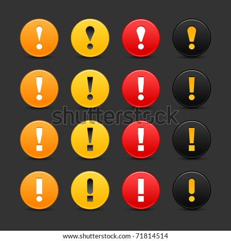 16 colored round warning sign web 2.0 button with exclamation mark on gray background. Bitmap copy my vector ID: 62768779 - stock photo
