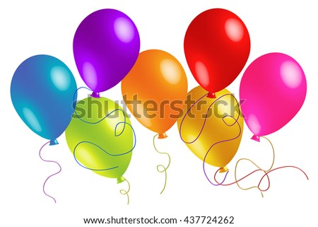 colorful balloons white background