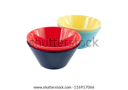 colorful bowls isolated on white background