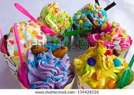 colorful  Cupcake selection - stock photo