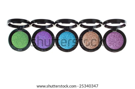 colorful eyeshadow; beautiful makeup accessories - stock photo