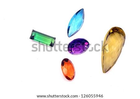 5 colorful gems isolated on white background - stock photo