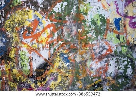 """""""Colorful graffiti wall"""" - stock photo"""