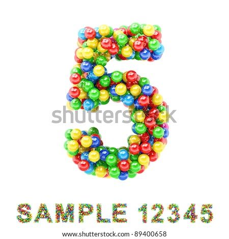 5: Colorful letters and numbers on white background