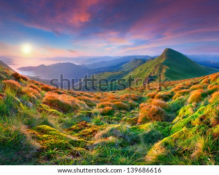 Colorful morning sunrise in the mountains. - stock photo