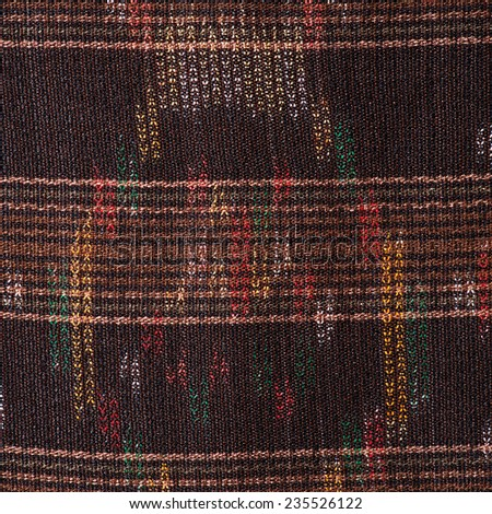 Colorful thai silk handcraft peruvian style rug surface close up More this motif & more textiles peruvian stripe beautiful background tapestry persian nomad detail pattern  - stock photo
