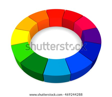 12 Colors Color Wheel Isolated On White Background 3d Render