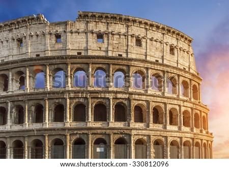 Colosseum (Colosseo) in Rome, Italy during sunset