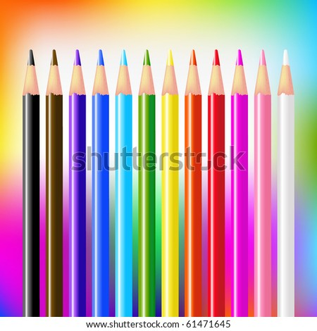 12 Colour Pencils On Bright Background