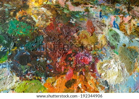 colourful palette with oil paints ( XXXL)