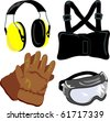 4 common safety items: earmuffs, back brace/supporter, safety goggles, leather work gloves - stock vector