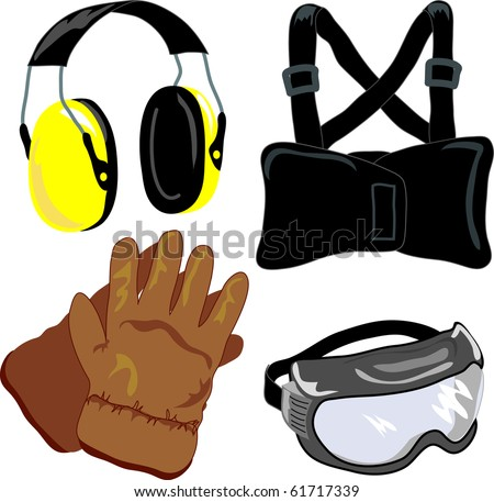 4 common safety items: earmuffs, back brace/supporter, safety goggles, leather work gloves
