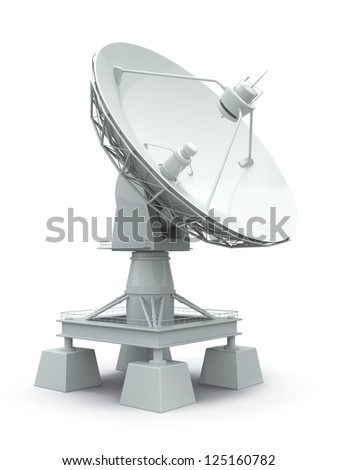 Communiation. Satellite dish on white background. 3d - stock photo