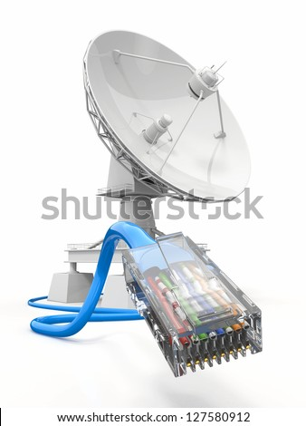 Communiation. Satellite dish with cable on white bacground. 3d - stock photo