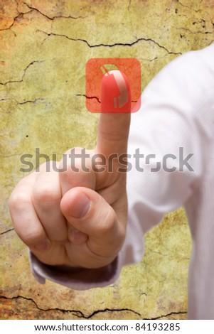 communication concept. hand pressing telephone symbol. - stock photo