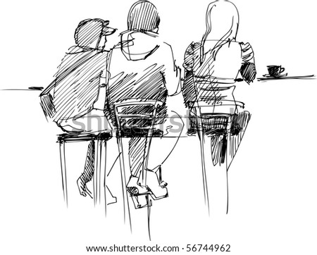 company at the table - stock photo