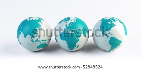 3 computer rendered globes - stock photo