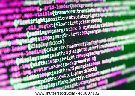 Computer science lesson. PHP syntax highlighted. Technology background. HTML website structure. Computer code data. Website codes on computer monitor. Computer program preview.   - stock photo