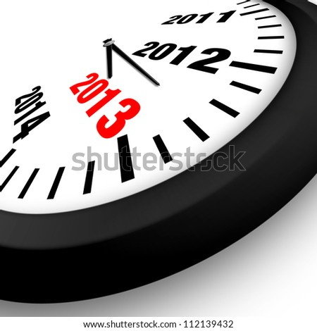 2013 Concept New Year Clock - stock photo