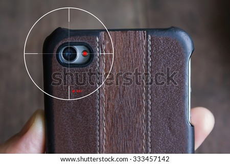 concept of mobile camera streaming live view or clip VDO recording secretly - stock photo