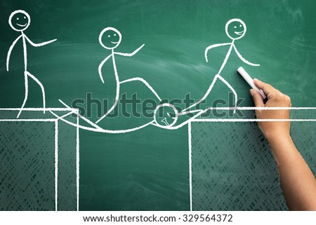 Concept of teamwork with colleague like a bridge, sacrifice for the work of the team's success - stock photo