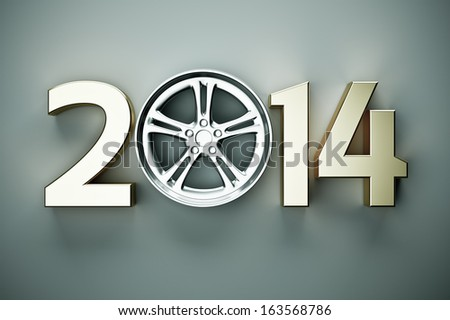 2014 concept with car wheel - stock photo