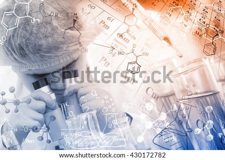 Concepts in Chemistry, chemist using microscope to analyze the sample in laboratory, with chemical equations and periodic table background. - stock photo