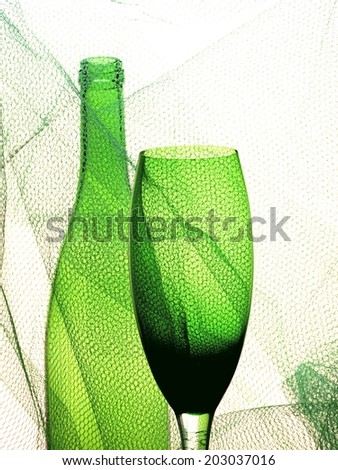 Conceptual abstract wine glassware background design.    - stock photo