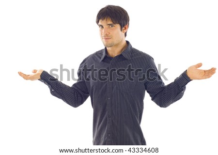 Confident businessman with hands facing up isolated  over white background - stock photo