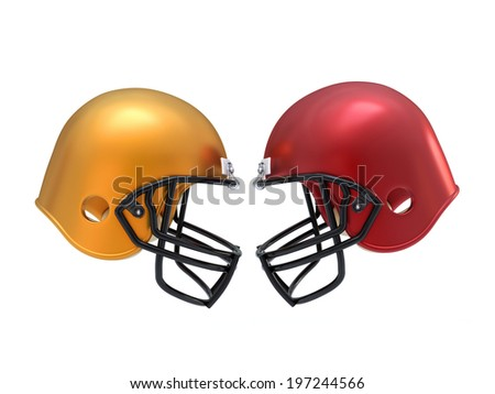 confront Football Helmets - stock photo