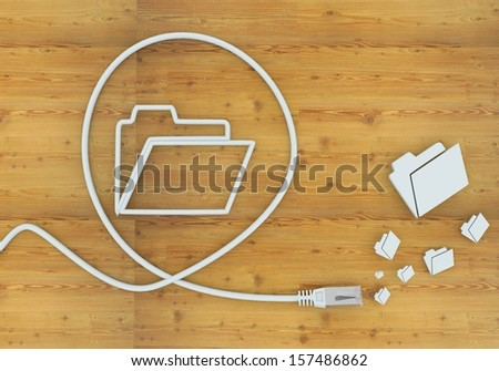 connected cable 3d graphic with sorted folder symbol formed by an cable - stock photo