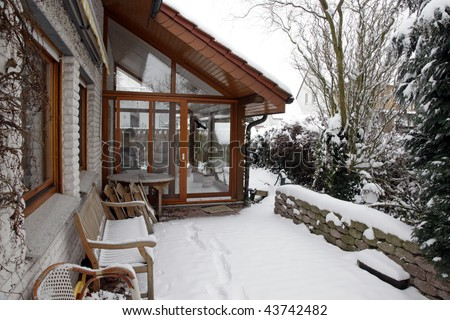conservatory during winter, outside view - stock photo