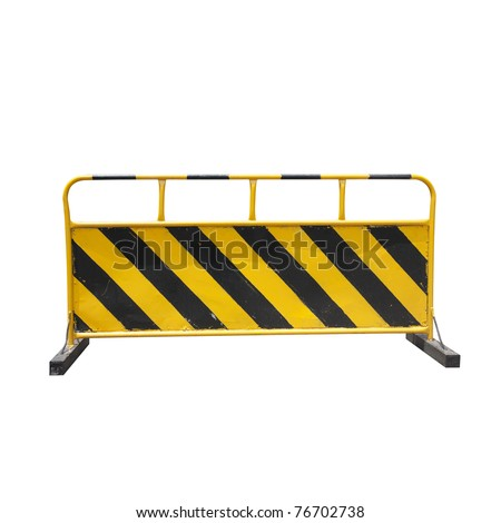 construction barrier isolated on white - stock photo
