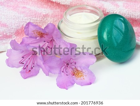 Container with pink flower rhododendron on white  - stock photo