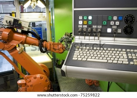 control panel with robot - stock photo