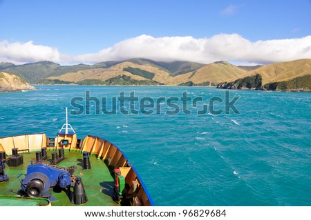 Cook Strait seen from the ferry leaving to North Island (New Zealand)