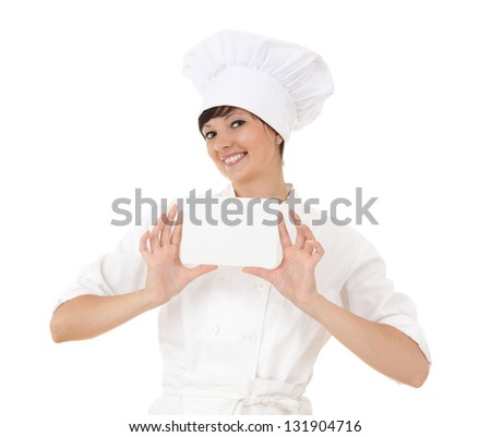 cook woman with empty card, white background - stock photo