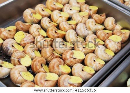 Cooked snails delicacy. French cuisine stuffed snails. Dietary food. - stock photo
