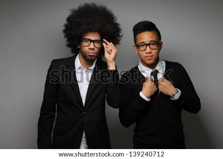 Cool business guys posing